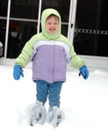 All bundled up in her Arkansas Wal-Mart Snow Boots