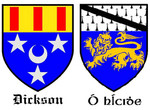 The Coats of Arms for the English Dickerson Family and the Irish Hickey Family