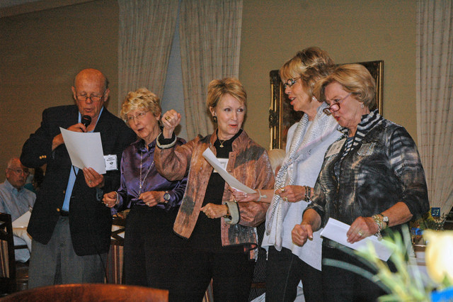 Still leading their old role in building school spirit Mike Wamsley, Sherry (Coffman) Solomon, Jan (Hall) Dillon, Gayle (McKinney) Brooks, and Sharon (Stremel) Utz lead the Alma Mater.   Copyright 2014
