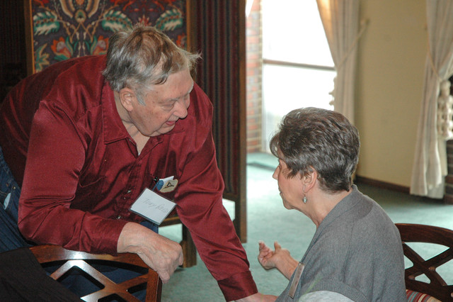 Anthony Reed chats with Ann (Kelly) Theis.  Copyright 2014