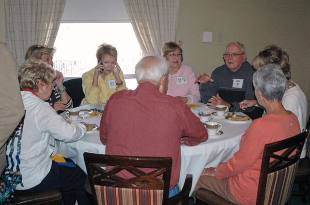 Saturday's events kicked off with a breakfast at the Town Club. This table clockwise is Sherry (Coffman) Solomon, Sharon (Stremel) Utz, Jan (Hall) Dillon, Carlee (Penner) Woodson, Dick Woodson, Gayle (McKinney) Brooks, Morris & Connie (White) Zempel. 