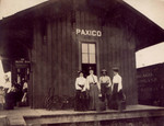 "Jenny ""Meema"" Stover Weisser (on left) waits with 3 unidentified women on the Paxico, KS, Depot platform, most likely for the train back to her home in Denver. 